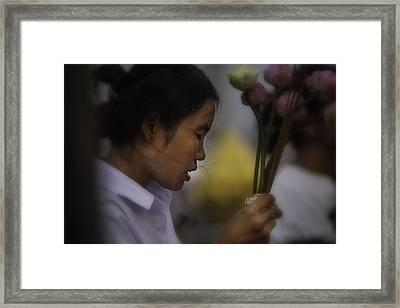 Cambodian Prayers Framed Print by David Longstreath