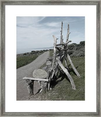 Cambria Driftwood Bench 2 Framed Print