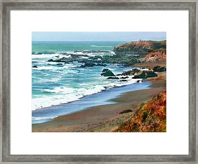 Cambria Shoreline In The Fall Framed Print by Elaine Plesser