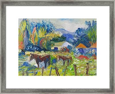 Cambridge Horses Original Artwork By Ekaterina Chernova Framed Print