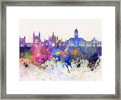 Cambridge Skyline In Watercolor Background Framed Print by Pablo Romero