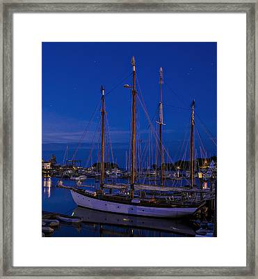 Camden Harbor Maine At 4am Framed Print by Marty Saccone