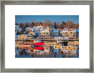 Camden Red Boat Framed Print by Susan Cole Kelly