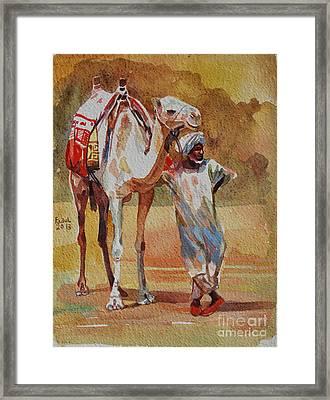 Camel And The Desert Framed Print