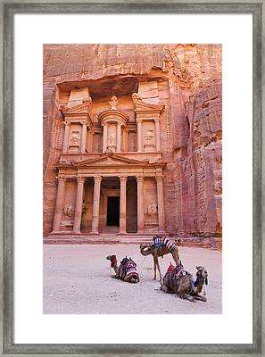Camel At The Facade Of Treasury (al Framed Print by Keren Su