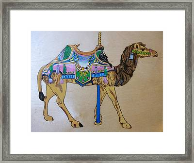 Camel Carousel Animal Pyrographic Wood Burn Art Original 15.5 X 15.5 Inch Complete With Frame  Framed Print by Shannon Ivins