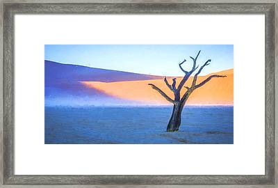 Camel Thorn Dawn - Dead Vlei Digital Art Framed Print by Duane Miller