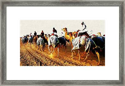 Camel Train Framed Print by Peter Waters
