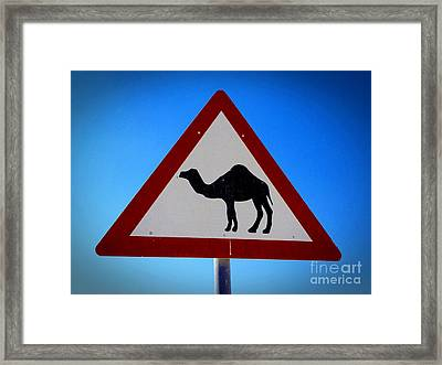 Framed Print featuring the photograph Camel Warning Road Sign by Henry Kowalski