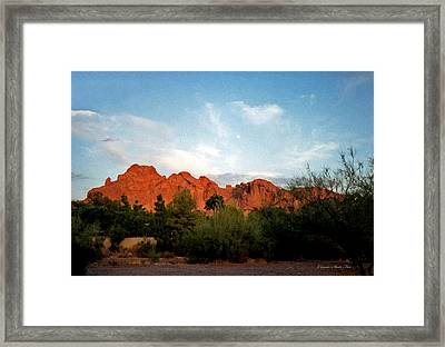 Camelback Mountain And Moon Framed Print