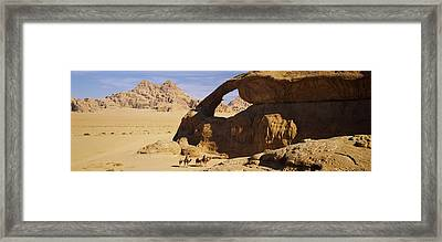 Camels At The Eye Of The Eagle Arch Framed Print