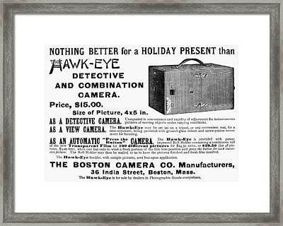 Camera Advertisement, 1889 Framed Print by Granger