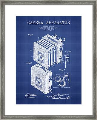 Camera Apparatus Patent From 1903 - Blueprint Framed Print