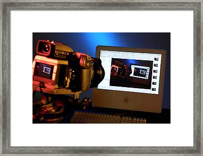 Camera Connected To Computer Framed Print