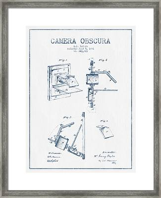 Camera Obscura Patent Drawing From 1881 - Blue Ink Framed Print by Aged Pixel