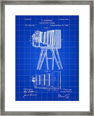 Camera Patent 1885 - Blue Framed Print by Stephen Younts