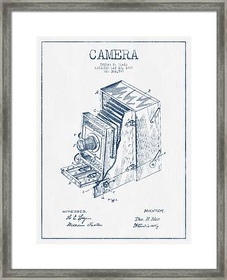 Camera Patent Drawing From 1887 - Blue Ink Framed Print by Aged Pixel