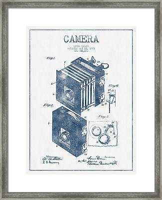 Camera Patent Drawing From 1903 - Blue Ink Framed Print by Aged Pixel