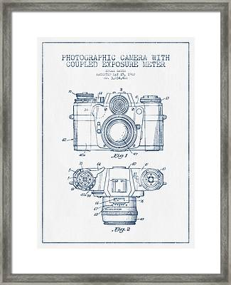 Camera Patent Drawing From 1962- Blue Ink Framed Print by Aged Pixel