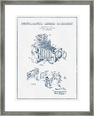 Camera Patent Drawing From 1963- Blue Ink Framed Print by Aged Pixel