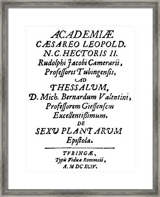 Camerarius Title Page, 1694 Framed Print by Granger
