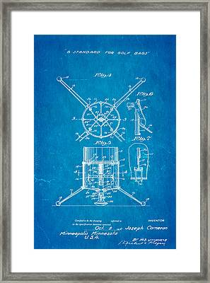 Cameron Stand Golf Bag Patent Art 1930 Blueprint Framed Print
