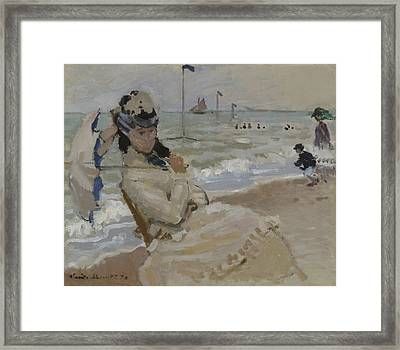 Camille On The Beach In Trouville, 1870 Framed Print by Claude Monet