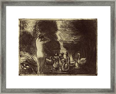 Camille Pissarro French, 1830 - 1903, Baigneuse Aux Oies Framed Print by Quint Lox