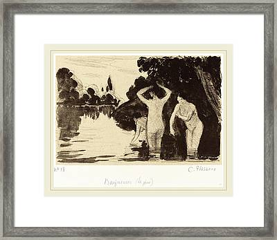 Camille Pissarro French, 1830-1903, Baigneuses Framed Print by Litz Collection