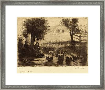 Camille Pissarro French, 1830 - 1903, Goose Girl Gardeuse Framed Print by Quint Lox