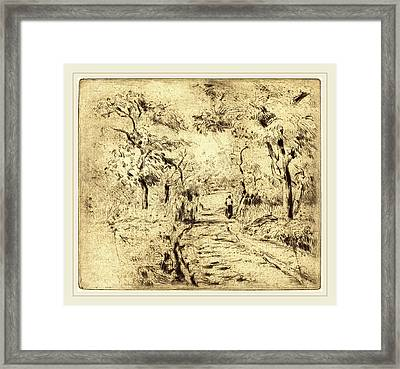 Camille Pissarro French, 1830-1903, In The Fields At Ennery Framed Print by Litz Collection