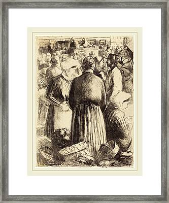 Camille Pissarro French, 1830-1903, Market At Pontoise Framed Print by Litz Collection