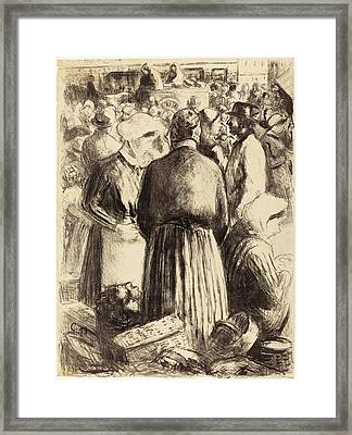 Camille Pissarro French, 1830 - 1903, Market At Pontoise Framed Print by Quint Lox