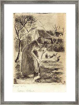 Camille Pissarro, French 1830-1903, Paysanne Bêchant Framed Print by Litz Collection