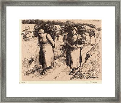 Camille Pissarro French, 1830 - 1903, Peasants Carrying Framed Print