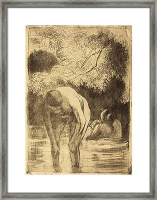 Camille Pissarro French, 1830 - 1903, Two Women Bathing Les Framed Print by Quint Lox