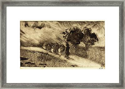 Camille Pissarro, French 1830-1903, Vacherie Le Soir Framed Print by Litz Collection