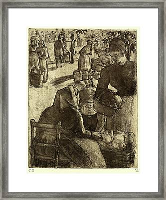 Camille Pissarro, French 1830-1903, Vegetable Market Framed Print by Litz Collection