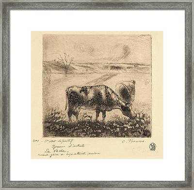 Camille Pissarro French, 1831 - 1903. The Cow La Vache Framed Print by Litz Collection