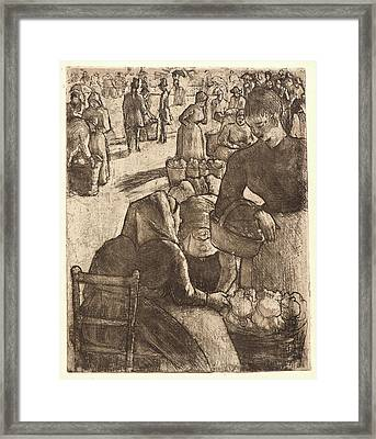 Camille Pissarro French, 1831 - 1903. Vegetable Market Framed Print by Litz Collection