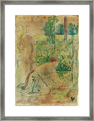 Camille Pissarro, Woman Working In A Garden Framed Print by Quint Lox