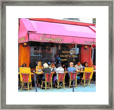 Camille Restaurant 24 Rue Des Francs Bourgeois Paris  Framed Print by Jan Matson