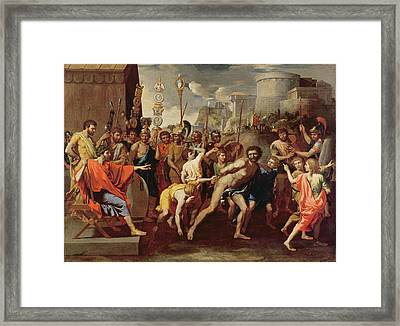 Camillus And The Schoolmaster Of Falerii, C. 1635-40 Oil On Canvas Framed Print by Nicolas Poussin