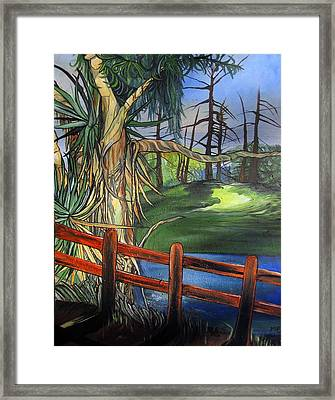 Framed Print featuring the painting Camino Real Park by Mary Ellen Frazee
