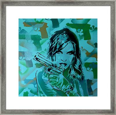 Camo Guns And Girls In Green Framed Print by Leon Keay