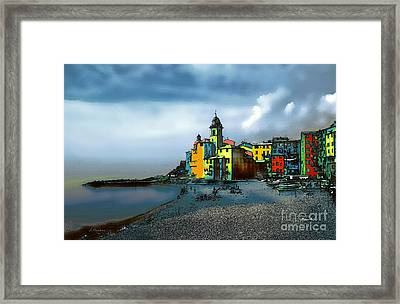 Camogli Italy Beachside Framed Print by Linda  Parker