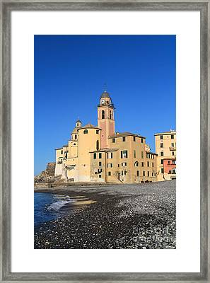 Framed Print featuring the photograph Camogli Seaside And Church by Antonio Scarpi