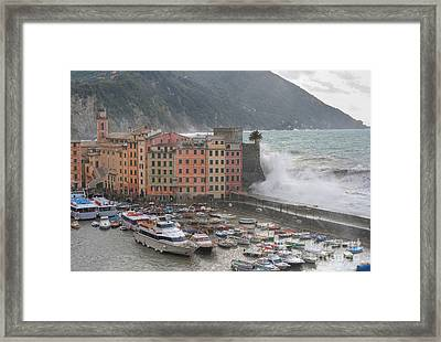 Framed Print featuring the photograph Camogli Under A Storm by Antonio Scarpi