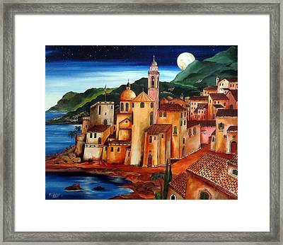 Camogli Under The Moon Framed Print