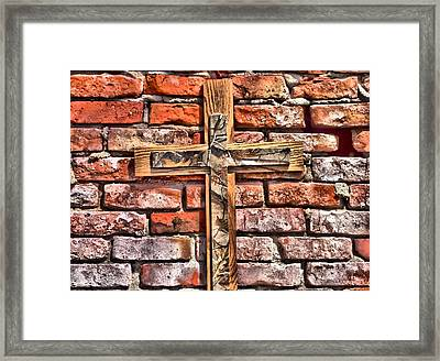 Camouflage Cross On Brick Framed Print